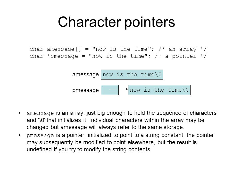 Character pointers char amessage[] = now is the time ; /* an array */